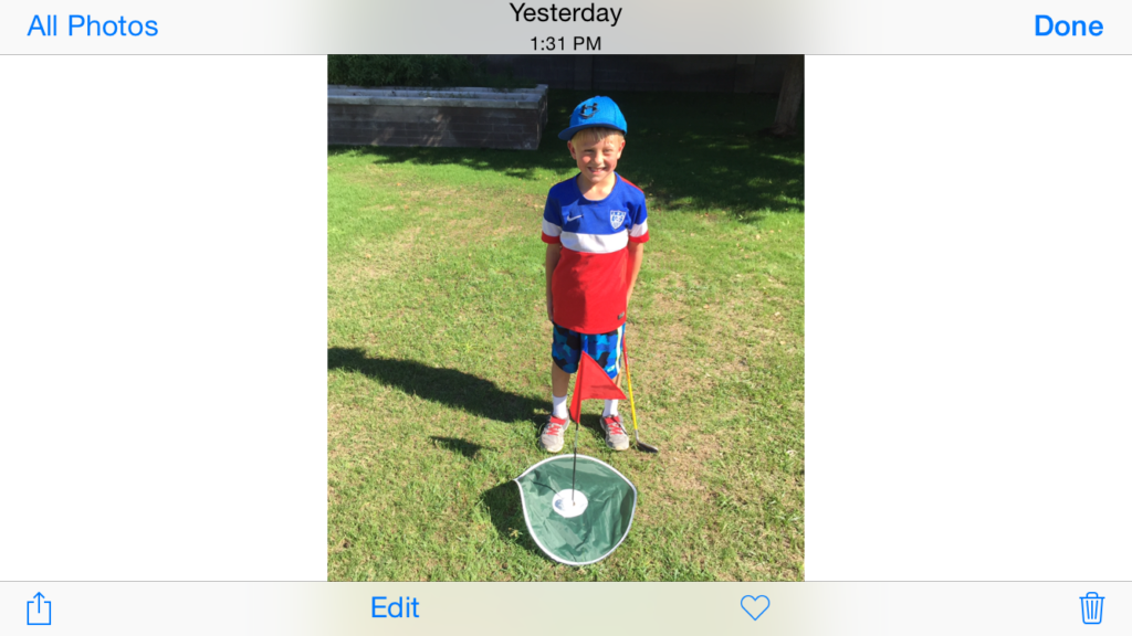 At Age 6, Elliot get his 1st Hole in One...with a wiffle ball that is !