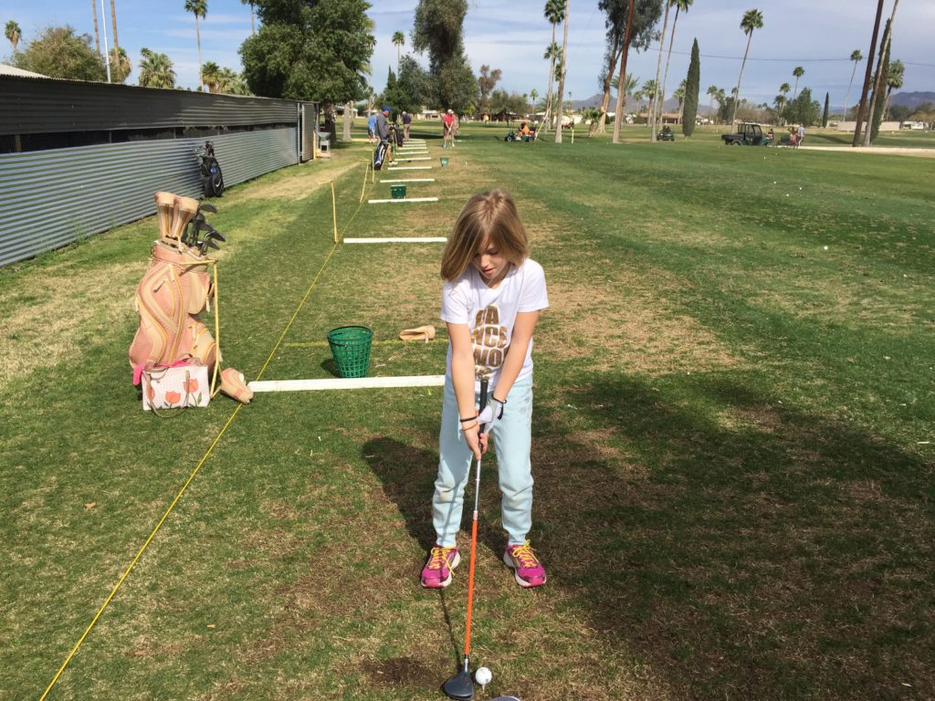 Ella is 8 & she can hit it Straight!